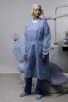 "Gown with elastic wrist bands (length 43.34"") light blue"