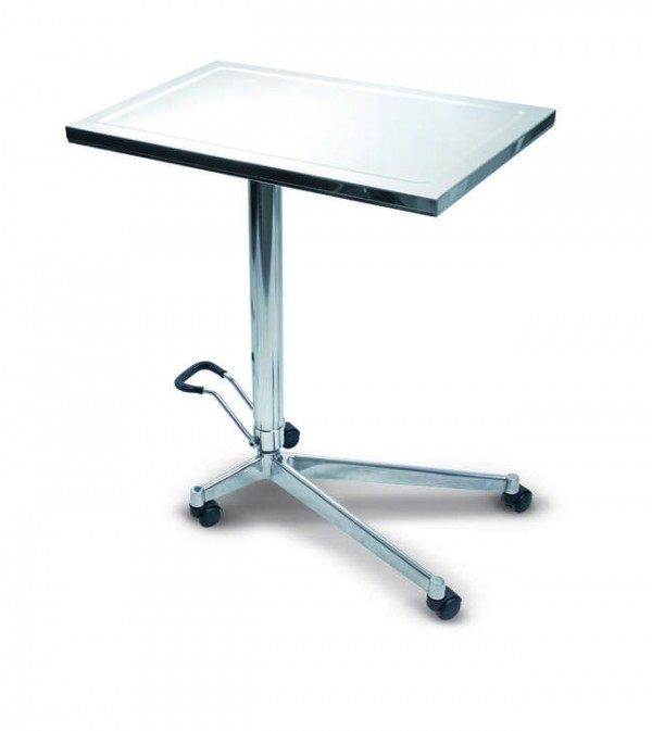 Instrument trolley with Oleodynamic to adjust height from 89 to 124 cm and with flat work top (tray size: cm 73x47x3,2 H) - 31,5 Kg