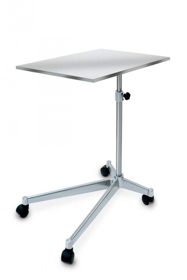 Instrument trolley with flat work top, extra heavy foot anti overturn and 180° rotation,  height adjusts from 74 to 117 cm. (tray size: cm 73x47x2,5 H) - Weight 18,70 Kg