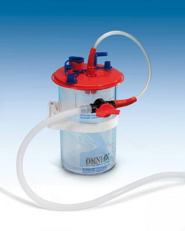 Canister for body fluid collection bag. Also includes 1 disposable bag and the connection tubing for the dental treatment