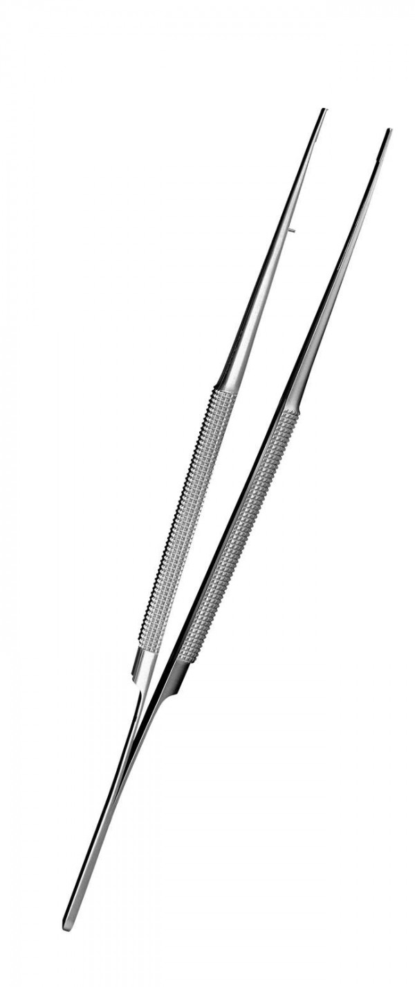 "Anatomical micro tweezers with flat diamond shaped edges. (7.09"")"