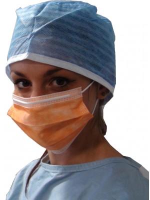 3 layered procedure mask with non-irritating elastic ear-loop orange
