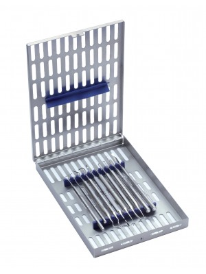 Tray for 10 instruments, equipped with cover, lid and transverse blue silicone bar.
