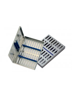 "Locking Tray for 8 instruments complete with base, lid, silicone insert frame and holder - 7.09""x4.93""x0.87"""